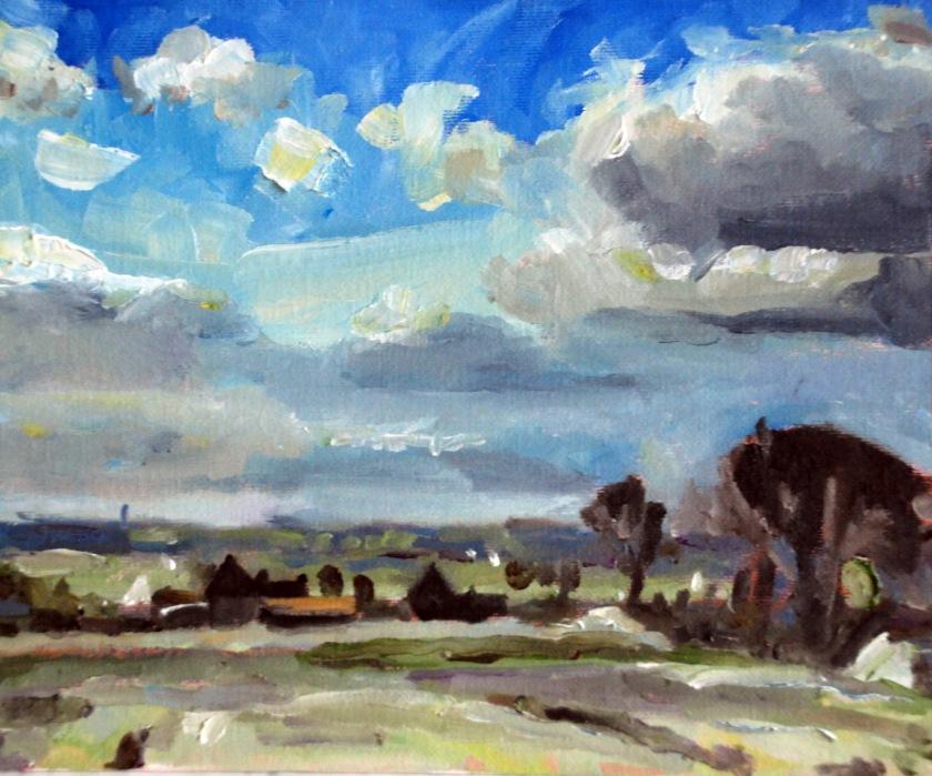 "A Norfolk Landscape (after Edward Seago) - Keith Tutt - 2018 - 10"" x 8"""