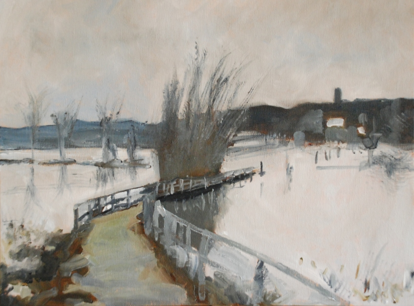 """Floods outside Beccles, Suffolk (after Edward Seago) - Keith Tutt - 2018 - 16"""" x 12"""""""